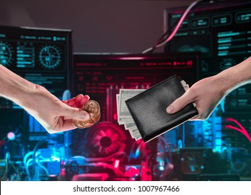 Hands with coins and a leather wallet with bitcoin coins and dollar bills against the background of computer circuit boards for the crypto currency minning. Digital monitoring, checking and money exch