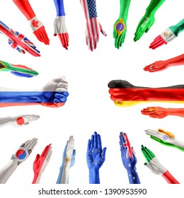 Hands colored in flags of participating countries of The Group of Twenty, major advanced and emerging economies on white background. Collage. Concept of international economical relationships.