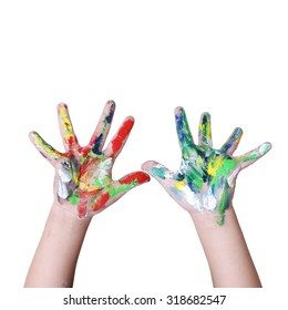 hands in colorful paint with clipping path on white background
