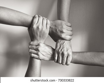 Hands coming together. in Unity there is strength.
