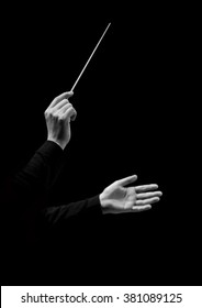Hands of conductor on a black background in black and white