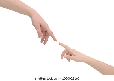 Hands connecting two people isolated on white background
