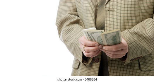 Hands counting money.  Isolated over white. With large area for your text.