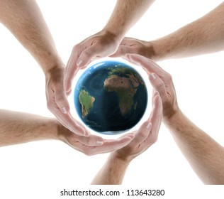 hands creating a circle protecting the planet isolated on white background. Elements of this image furnished by NASA.