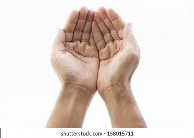 Hands cupped together on white background