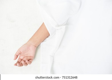 The hands of the dead on white background.