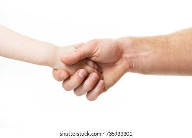 Hands, deal time. Father's and his son's hands. Dad and kid hands, bet over white. Male and children hands closeup, isolated on white background.