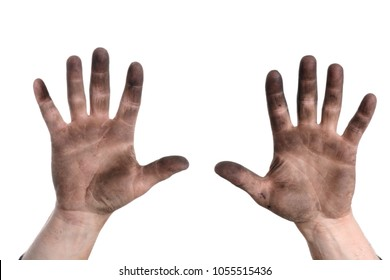Hands dirty with grease from working isolated white background