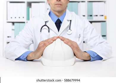 hands doctor protect helmet worker, medical health insurance concept