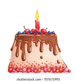 hands drawn picture of cake with chocolate glaze, berries, cherries and candle by the color pencils on white background