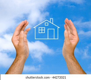 Hands with dream house