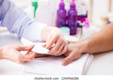 Hands during manicure care session