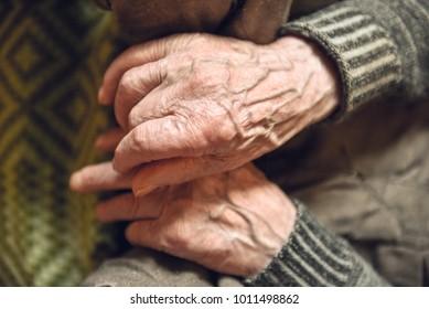 The hands of an elderly man. Closeup