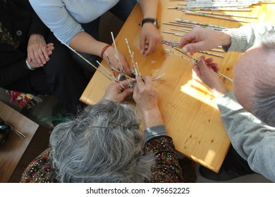 Hand's of elderly people during occupational therapy