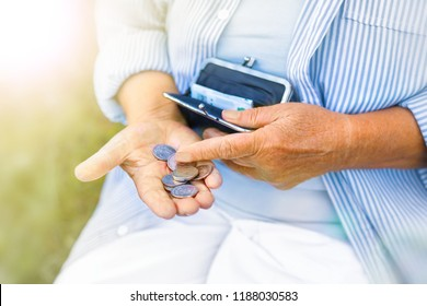 hands of an elderly woman holding a purse with money, pension