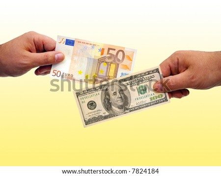 Hands Exchanges Euros With Dollars