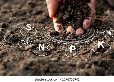The hands of the farmer's hands are touching down on the loamy soil with technology icons about the nutrients and elements in the soil that are necessary for plant growth.