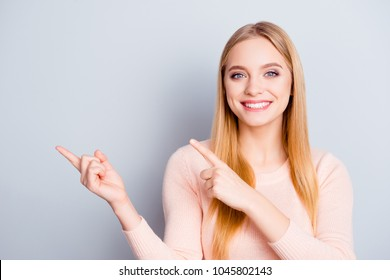 Hands fashion forefinger news information person people model concept. Close up portrait of confident smart intelligent cute with toothy smile manager pointing on copyspace isolated on gray background