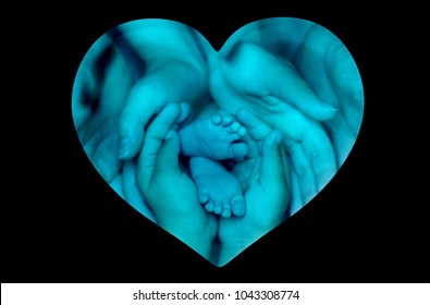 The hands of father, mother, sister holding little child's legs. Heart-shaped background (double exposure)