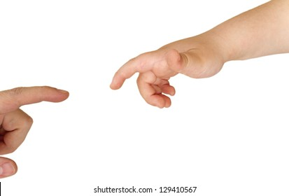 Hands of father and son meeting isolated over a white back ground