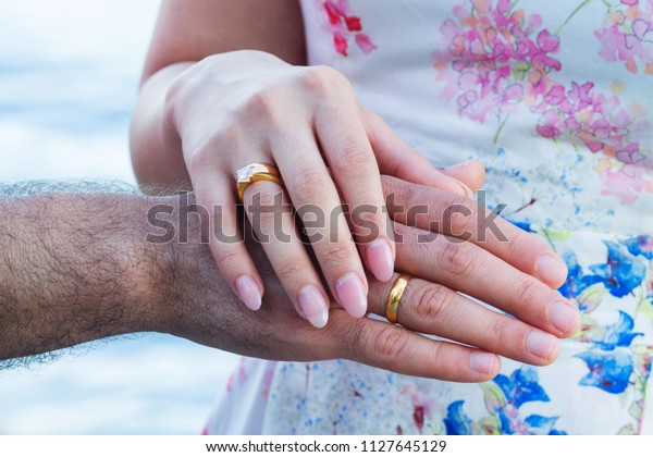 Hands Finger Man Woman Rings Wedding Stock Photo Edit Now 1127645129