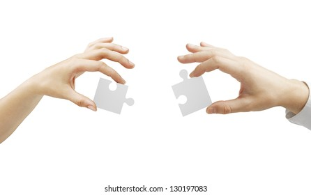 hands folded puzzle on a white background