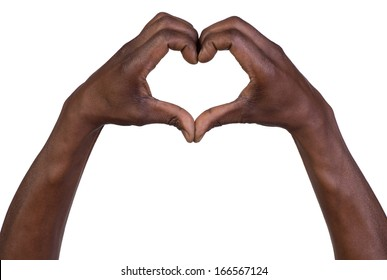 Hands in the form of heart isolated on white background