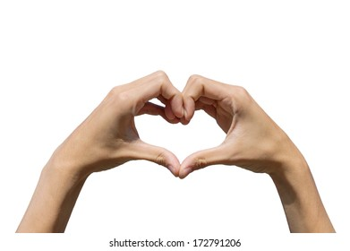 hands forming be heart for love on white background, isolate