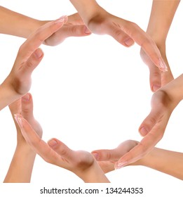 Hands forming circle isolated on white background.
