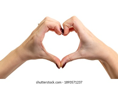 Hands forming a heart on white background. Valentine concept.