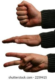 Hands forming rock, paper, scissors