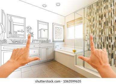 Hands Framing Custom Master Bathroom Drawing and Photo Gradation.