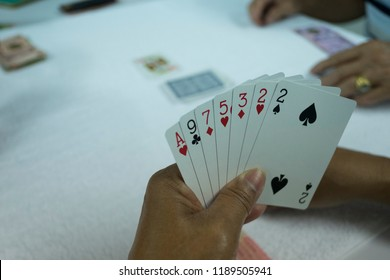 Hands of gambler playing card in rummy game. Close up card in hand.