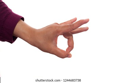 Hands gesture set isolated on white,  Flicking something or OK sign concept with copy space