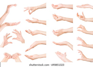 Hands gestures collection. Set of woman hands showing, holding and supporting something. Isolated on white, clipping path included