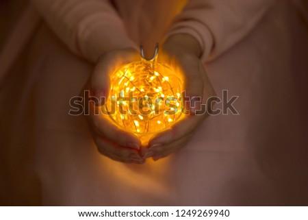 Hands Girl Glass Kettle Golden Lights Stock Photo Edit Now