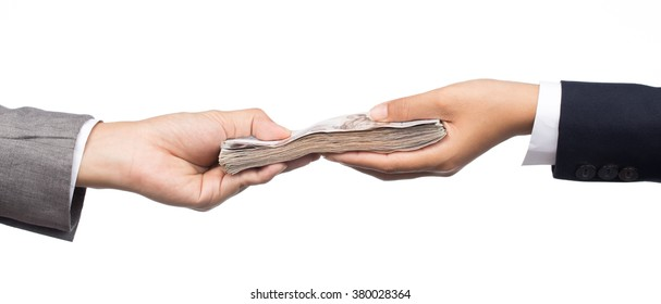 hands giving money isolated on white background