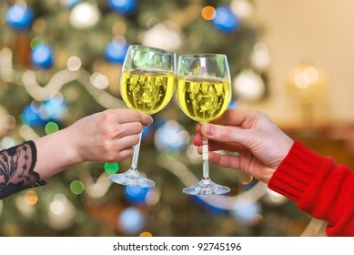 hands with glasses of  vine for Valentine day , wedding.