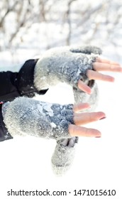 hands in gloves with snow