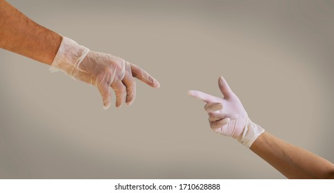 hands in gloves in touch, COVID love for couple
