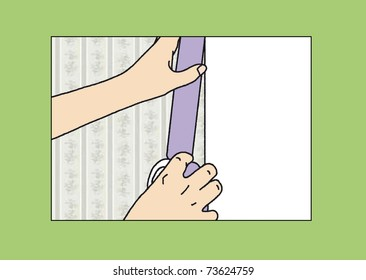 hands glued to the wall masking tape