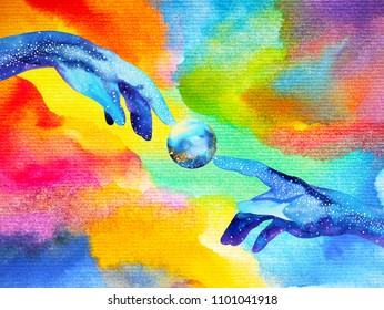 hands of god connect to another world illustration design watercolor painting hand drawn