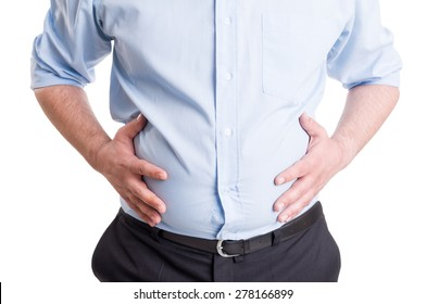 Hands grabbing bloated abdomen. Digestion problem or indigestion, medical concept.