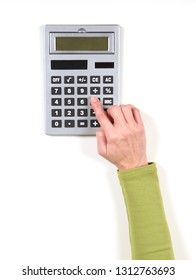 Hands in green jacket and calculator on white background