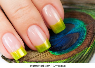 Hands with green manicure