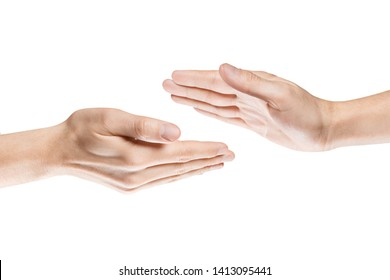 Hands greeting each other, isolated on white background