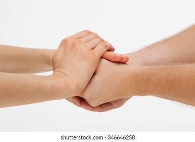 Hands group on white background