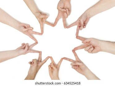 Hands grouped in teamwork concept