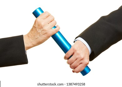 Hands hand over a blue baton during the relay race