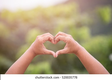 Hands with heart sign on green blur at garden background. Love concept